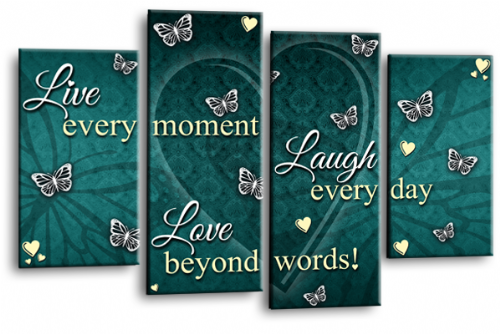 Love Quote Canvas Wall Art Picture Live Laugh Print Teal Cream